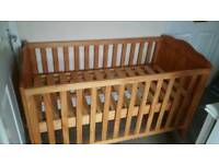 Pine cot bed / toddler bed with new mattress and matching bed guard