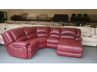 Ex-display Ronson deep red leather electric recliner corner sofa with chaise lounge