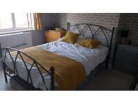 Standard Double bed frame, black metal