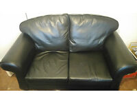 BLACK 2 SEATER LEATHER-FEEL COUCH