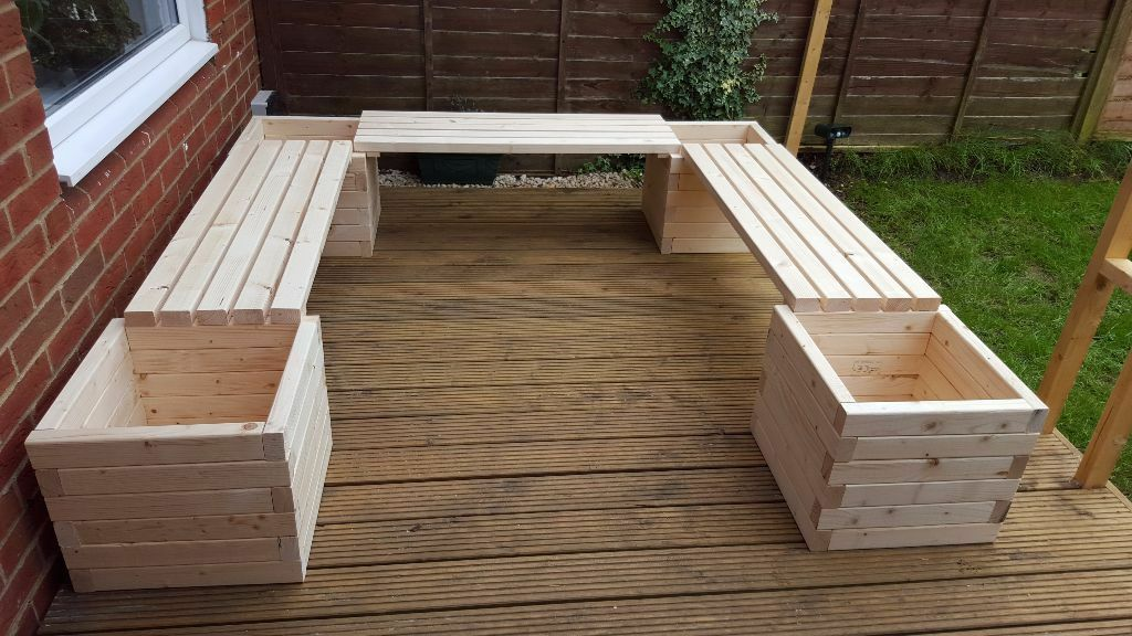 new handmade wooden garden benches with planters u shape in luton