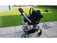 Cosatto travel system with car seat and raincover