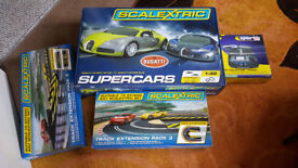 SCALEXTRIC SETS , BUGATTI SPORT SET PLUS EXPANSION PACKS 2 AND 3 + MORE