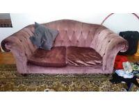 vintage purple velvet sofa with mahogany legs