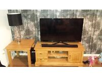 Solid Oak TV Stand & Side Table
