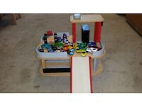 Marks and Spencers wooden toy garage and cars