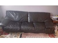 2 leather sofas, coffee table, cupboard/cabinet BARONS COURT