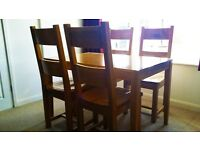 Dining Table & 4 Chairs, light Oak colour in solid heavy wood