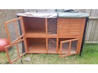 Double story rabbit hutch with cover