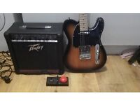 fender squire telecaster electric guitar and peavey amp