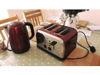 Logik Red Kettle and 4-Slice Toaster set