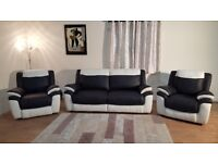 Ex-display Leo black and white leather 3 seater sofa and 2 armchairs
