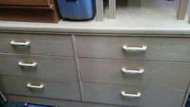 Long beech cabinet - drawers light wood storage
