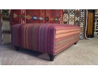 Kilim upholstered ottoman upholstered in kilim by master upholsterer in UK perfect coffee table