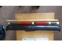 """Cue pool 56.66"""" with soft custody ,perfect condition!!"""