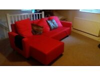Ikea red corner sofa bed for sale