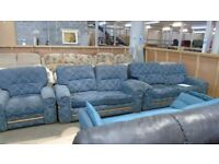 PRE OWNED Blue Floral Fabric 3 + 2 + 1 Seater Sofas