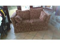 GPlan 2 seater with storage footstool in chenile fabric.