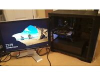 Gaming PC with Monitor, watercooled i5 3570k 3.8 GHz, 250GB ssd, 8gb DDR3, GTX 760