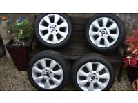 """MINI 16"""" ALLOY WHEELS AND TYRES VERY CLEAN WHEELS"""