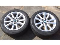 "2 x bmw 16"" alloy wheels and tyres"