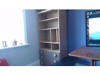 Oak Vinyl Shelving/Drawer Combination Unit