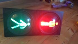 Working red man/green man TRAFFIC LIGHTS adapted for mounting on a household wall VGC