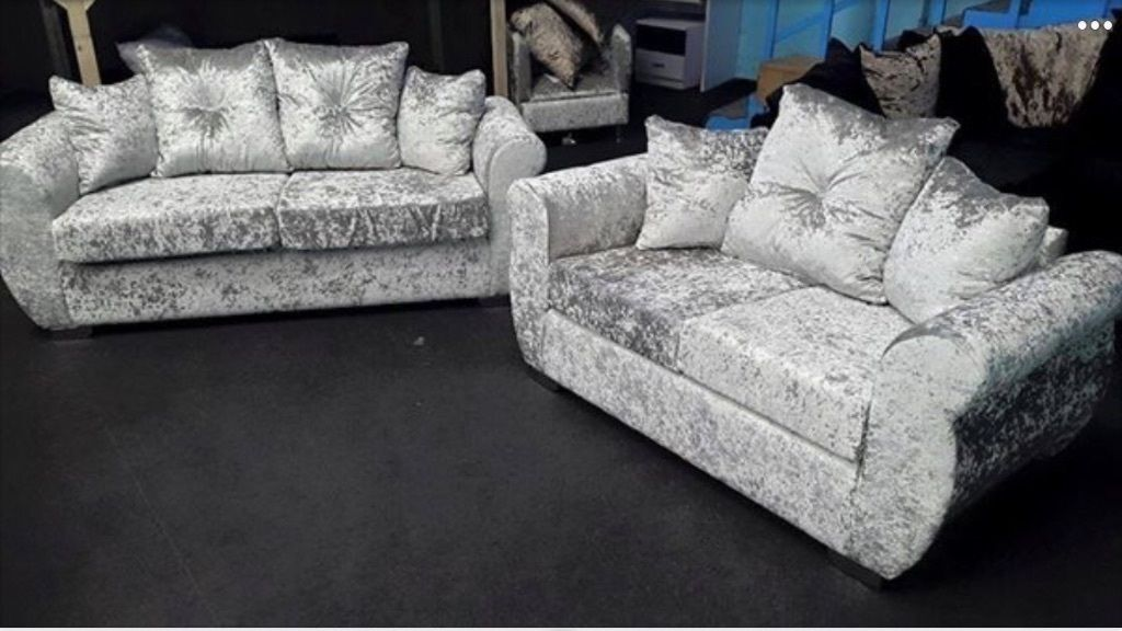 2 And 3 Seater Sienna Sofa Silver Crushed Velvet Diamante