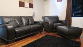 Brown Leather 3 Seater, 2 Seater, Arm Chair & Foot Stool