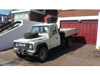 Land Rover defender tipper with crane & winch