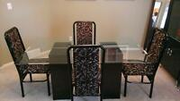 Glass Table and 4 Dinette/Dining Room Chairs Set for Sale