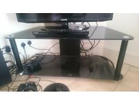 TV stand, black glass, 2 level. 2 available (in a small & large size)