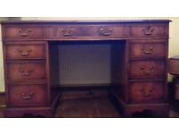 Antique style 3 part leather top writing desk
