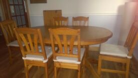 Ikea Pine Extendable table and 6 chairs