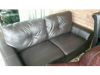 2 seater dark brown leather sofa