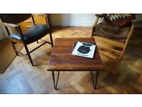 Redwood Coffee Table with Hairpin Legs. Delivery Available. (60 x 55 x 38)