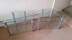 Pair Of Glass TV Stands.