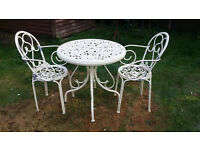 garden antique cream metal bistro set - table and 2 chairs