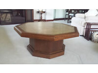 """Coffee table solid wood - tiled top - eight sided 3'8"""" diameter"""