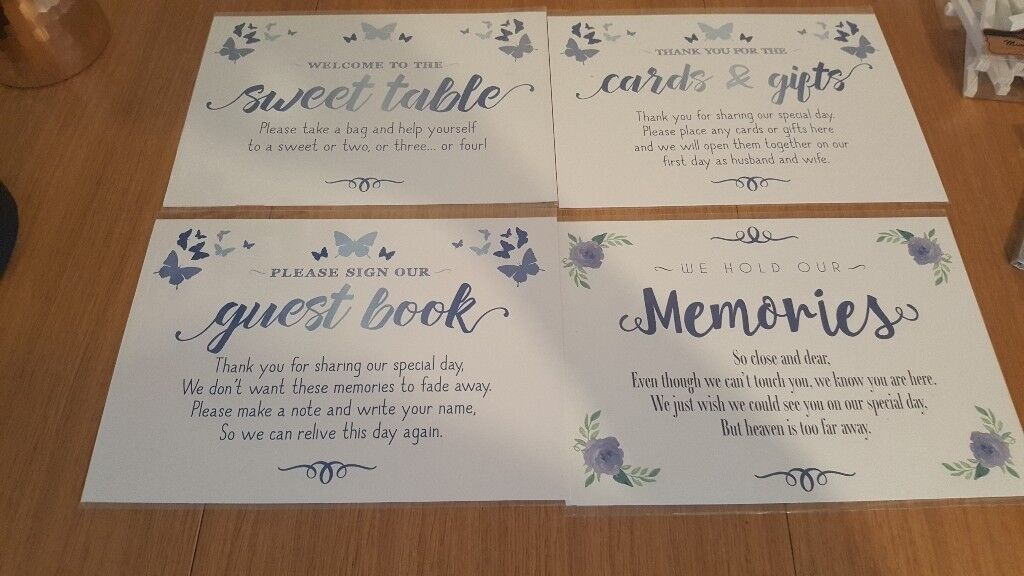 Wedding signs and mini easels
