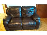 Brown leather 2 seater + 1 seater recliner sofas