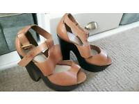 Topshop brown leather sandals size 6
