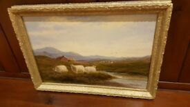 antique oil painting in original ornate gold frame, listed artist
