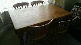 Chunky pine dining table and chairs set