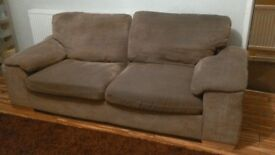 brown/champagne 3 seater sofa and chair
