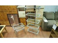 Tall 5 tier glass top shelves and 2 tier glass top coffee table £45 delivered
