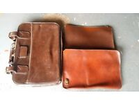 ANTIQUE VINTAGE REAL LEATHER BRIEF CASE & 2 ZIPPED LEATHER FILE CASES £15.00