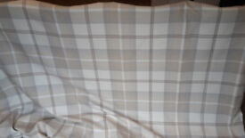 Highland Check Natural Lined Eyelet Curtains + Two Cushions