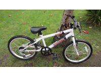 "Terrain Oregon Rigid 20"" Kids Mountain Bike 11"" Frame White/Red Boys"
