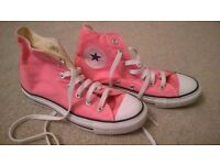 Like new, only ever worn in-doors, genuine pink Converse hi-top boots, adult size 5